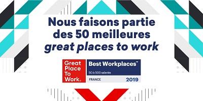 """Kantar est reconnue comme une entreprise """"où il fait bon travailler"""" dans le Palmarès Great Place To Work France 2013, 2015, 2017 et 2019 dans la catégorie des entreprises de moins de 500 salariés."""